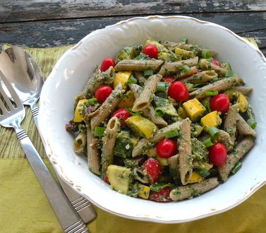 Pasta salad with parsley pesto and two squashes recipe