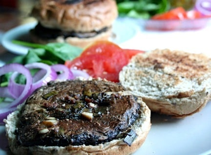 Grilled portabella burgers on while-grain buns