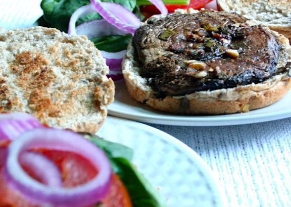 Portabella burgers on whole-grain nuns
