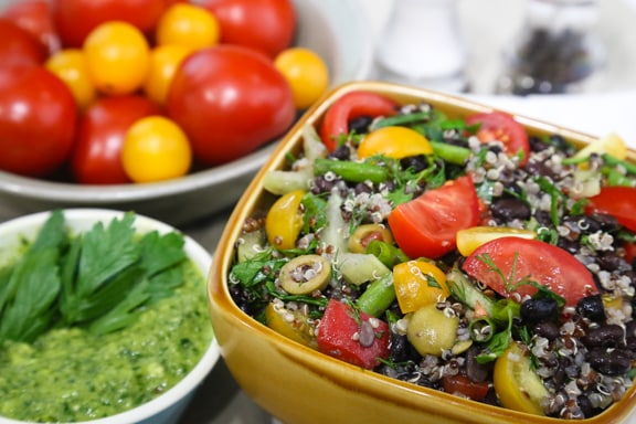 Herb Garden Couscous or Quinoa and Black Bean Salad