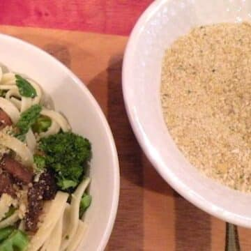 Vegan Parmesan style cheese made with raw almonds
