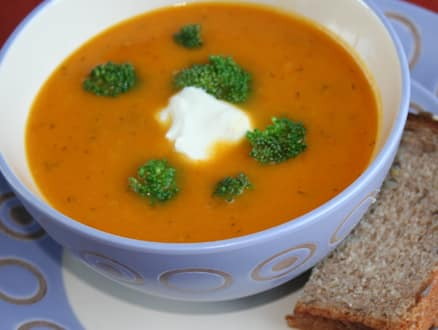 cold carrot and broccoli soup