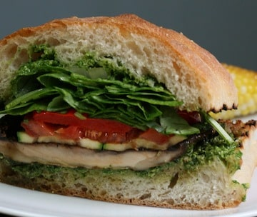 grilled portobello spinach club sandwich