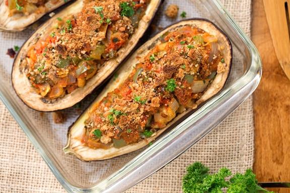 Creole stuffed eggplant