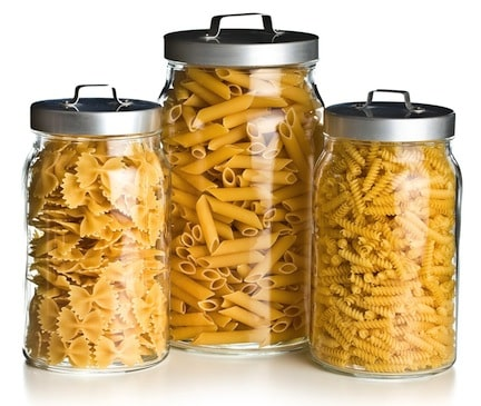 Pasta varieties in jars