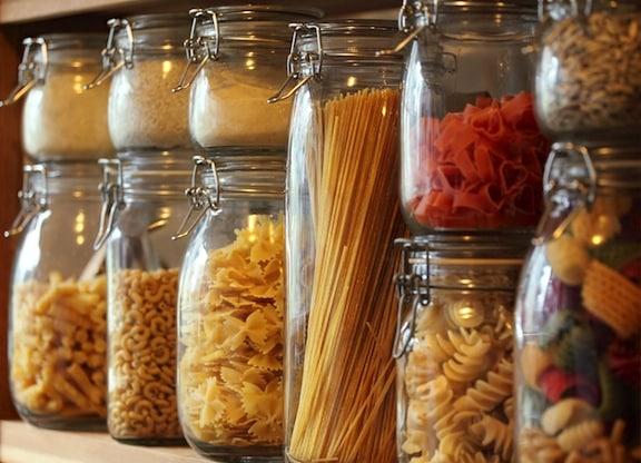Pastas in jars in pantry