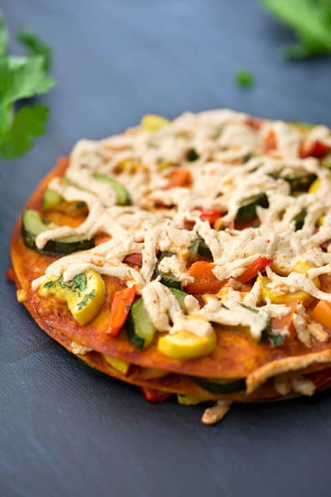 Stacked squash and bell pepper enchiladas