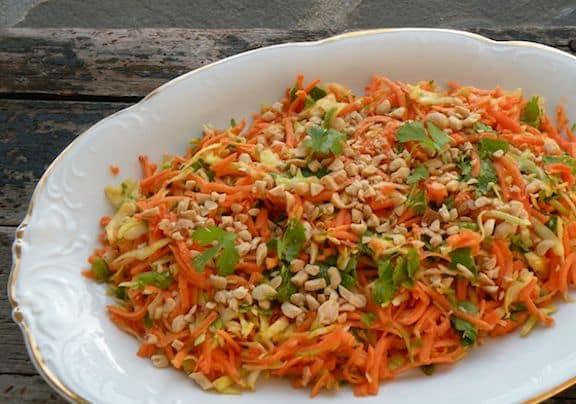 Raw sweet potato and cabbage salad