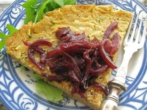 Chickpea Zucchini Farinata With Cabernet-Red Onion Jam