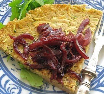 Chickpea Zucchini Farinata With Cabernet-Red Onion Jam