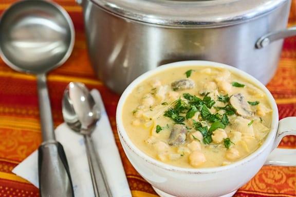 Chickpea Tahini Mushroom Soup