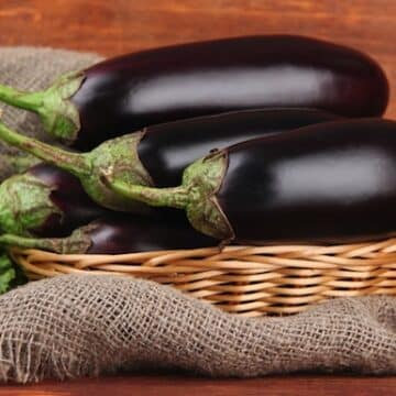Eggplants in a basket