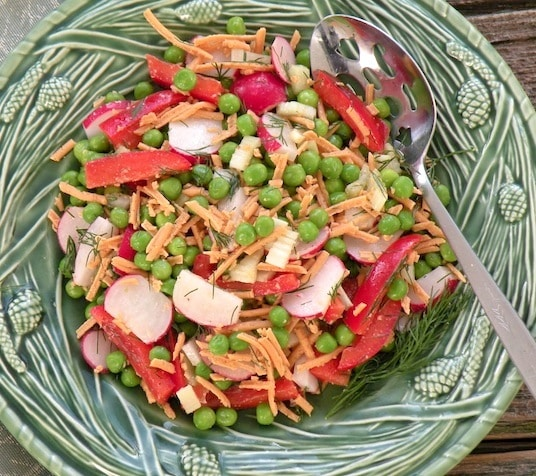 Green pea, radish, and vegan cheddar salad recipe