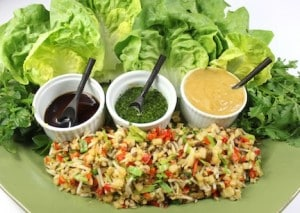 lettuce wraps with sauces