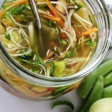 Asian mushroom noodle soup