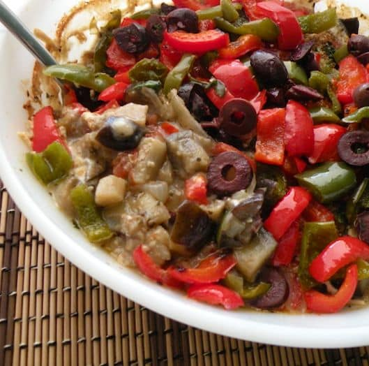 Baked eggplant and peppers1