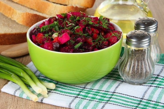 Beet salad with beet greens