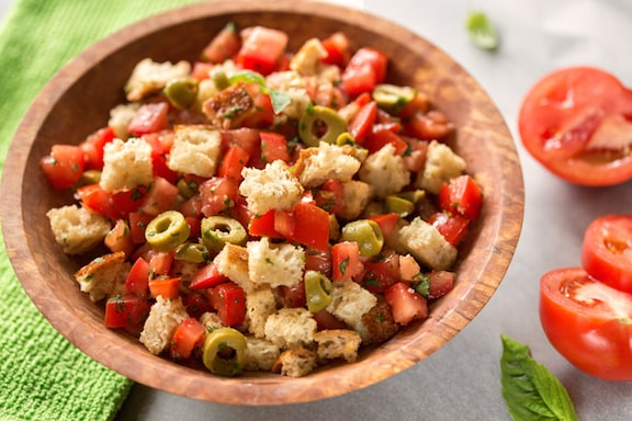 Crisp cubes of Italian bread mingle with fresh tomatoes in this ...