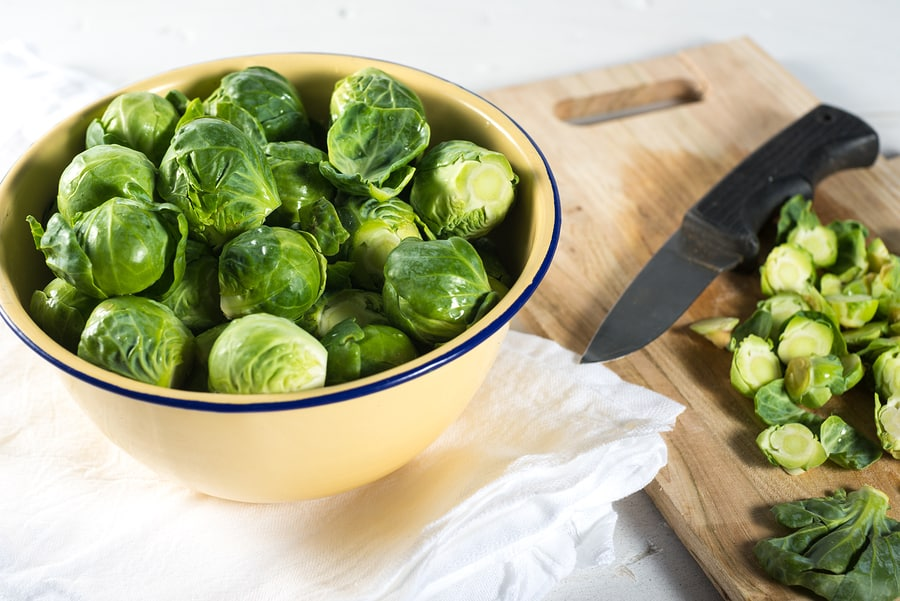 Brussel Sprouts being prepped