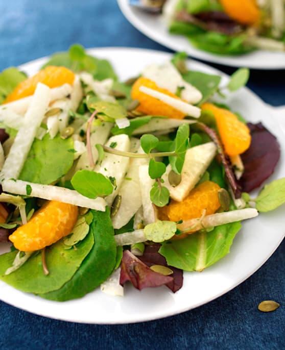 Jicama salad with oranges and watercress recipe