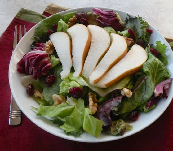 Pear, Walnut, and Cranberry Salad recipe by Jill Nussinow
