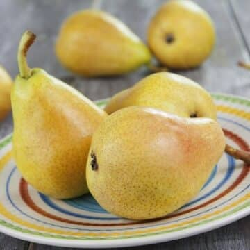 Pears on a plate