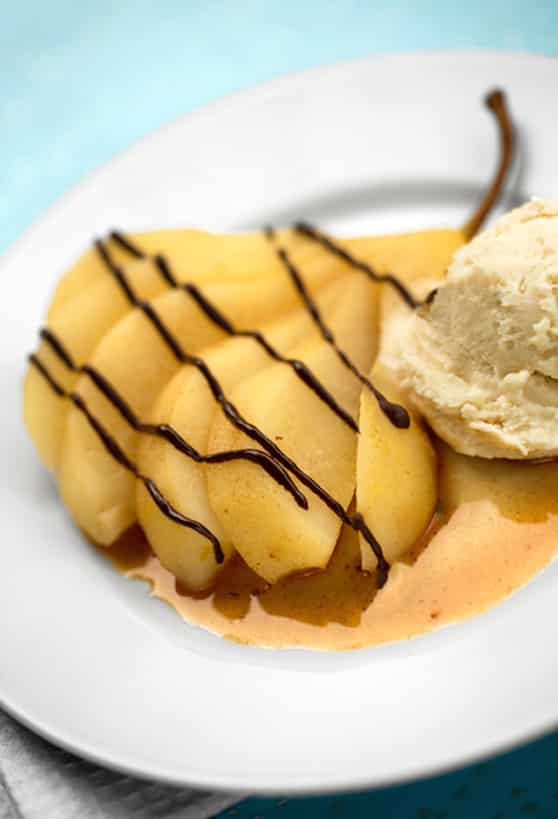 Poached pear with chocolate drizzle