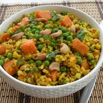 Gingery rice with sweet potatoes and peas