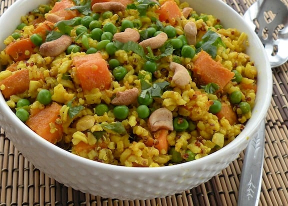 Gingery Rice with sweet potatoes and peas recipe
