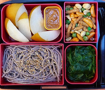 soba noodles in bento box lunch