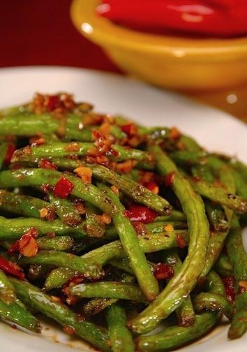 spicy and garlicky walnut stir-fried green beans