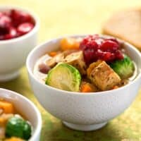 Tempeh, Brussels Sprouts, and Sweet Potato stew