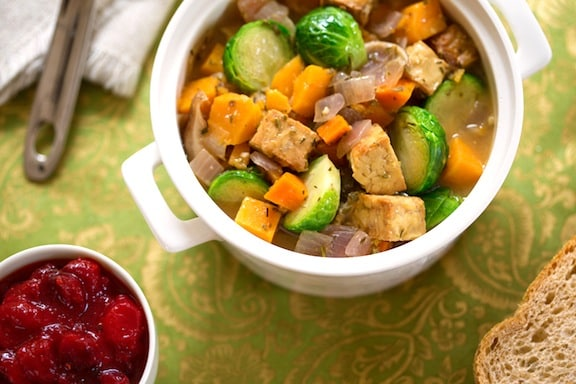 Tempeh, Brussels Sprouts, and Sweet Potato Stew recipe