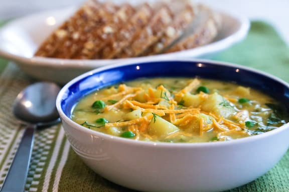 Vegan cauliflower and cheddar soup