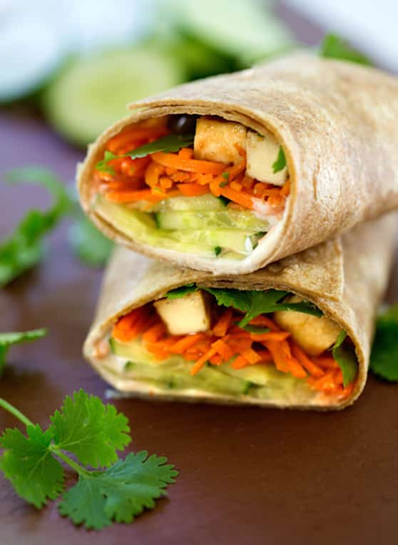 Vietnamese-flavored tofu and vegetable wraps