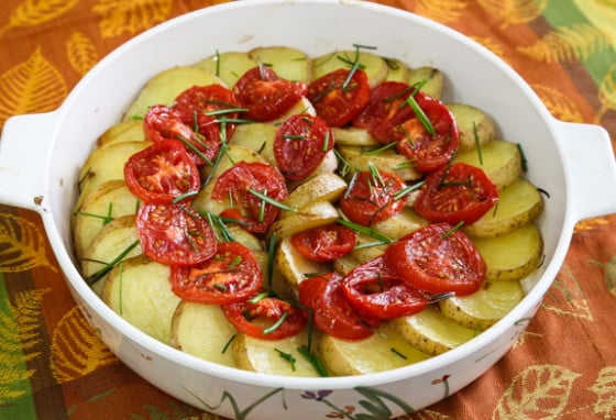 Roasted Potatoes and Tomatoes with Rosemary