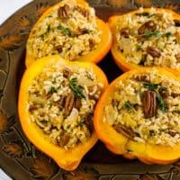 Rice and Pecan Stuffed Acorn Squash