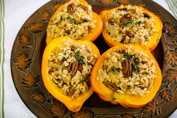 Rice and Pecan Stuffed Acorn Squash