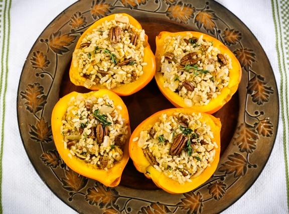 Rice and Pecan Stuffed Acorn Squash recipe