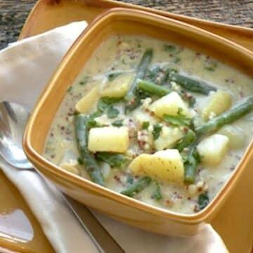 Cold Potato, Green Bean, and Quinoa Soup
