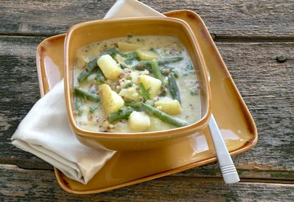 Cold Potato, Green Bean, and Quinoa Soup recipe