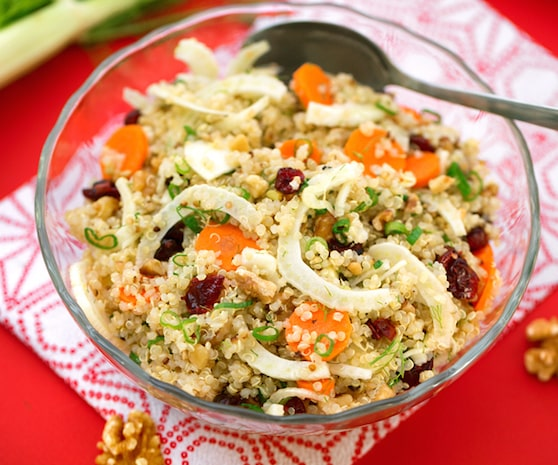 Quinoa, fennel, and cranberry salad