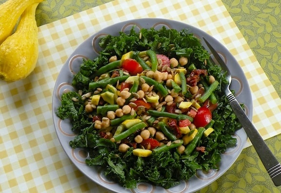 Squash, chickpea, and green bean salad