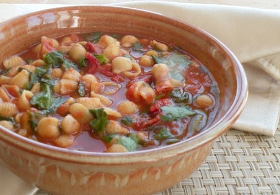 tomato chickpea soup with tiny pasta recipe