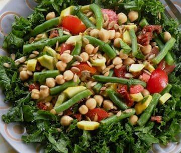 Squash, chickpea, and green bean salad detail