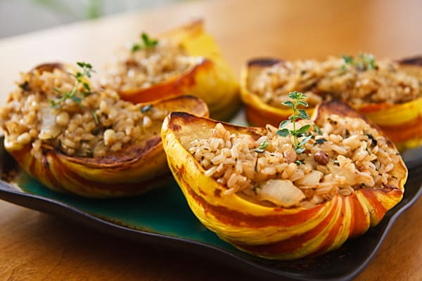 rice and pecan-stuffed squash