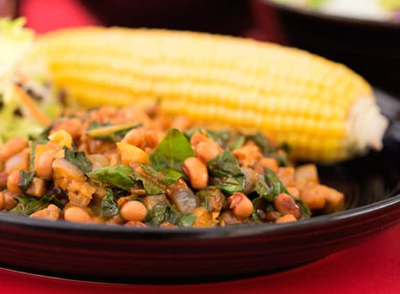 BBQ Tempeh with Black-Eyed Peas and Greens