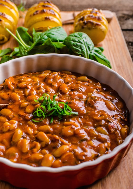 Barbecue-flavored baked beans