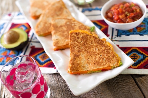 Vegan Sweet potato and avocado quesadillas