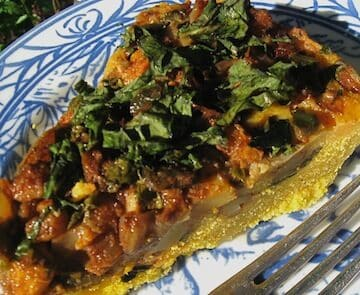 Tamale pie with Winter Greens
